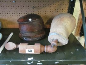 A treen hat/kepi former and wig stand