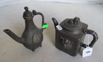 A Chinese bronze water pot and square clay teapot