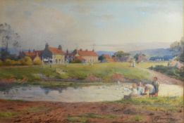 William H Atkin-Berry 'Children Before a Lake Feeding Ducks' signed and dated 1912 watercolour