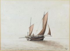 Admiral Marcus Lowther 'Chinese Sailing Boat at Sea' watercolour, monogrammed and dated 1886, 22 x