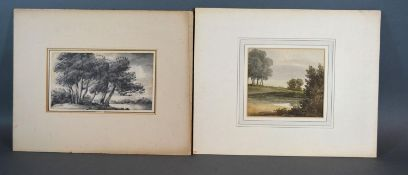 Thomas Monro 'Rural Landscape' a monochrome watercolour, 10 x 18 cms together with another small