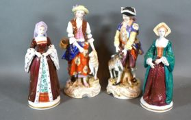 A Pair of German Porcelain Figures decorated in polychrome enamels and highlighted with gilt