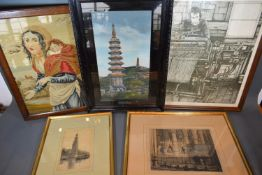 Three Black and White Engravings together with an Oriental silk-work picture and a wool-work