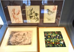 Gerald Judah Ososki 'Classical Figures' watercolour and pen, signed and dated 68 together with three