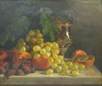 Edward Ladell, Still Life, Grapes and Fruit Upon A Table With Ewer, Oil on Canvas, 29cm x 35cm