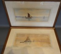 """George Standfield Walters """"On the Naal"""" Holland, a pair of watercolours signed 18cm x 42cm"""