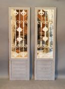 A Pair of French Style Painted and Metal Mirrors in the form of shutters 150cm by 42.5cm