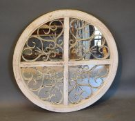 A French Style White Painted and Metal Wall Mirror 72cm diameter