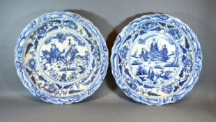 A Pair of Chinese Underglaze Blue Decorated Large Chargers, each decorated with figures within