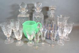 Three Cut Glass Decanters together with various other glassware