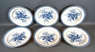 A Set of Six First Period Worcester Dishes all decorated in underglaze blue with pine cones
