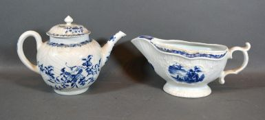 A First Period Worcester Sauce Jug decorated in underglaze blue with a reserve together with a