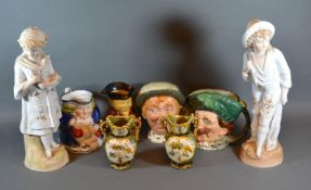 A Royal Doulton Character Jug 'Jarge' together with three other similar charracter jugs, a pair of