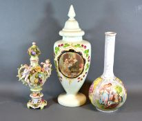 A German Porcelain Bottleneck Vase together with a Victorian Glass Covered Vase and a Dresden