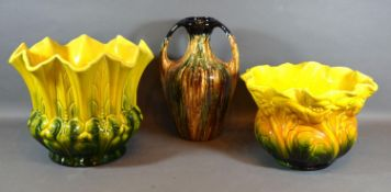 A Bretby Jardiniere of Shaped Form with yellow and green ground, 22 cms tall together with another