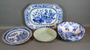 A 19th Century Chinese Underglaze Blue Decorated Octagonal Dish together with three other related