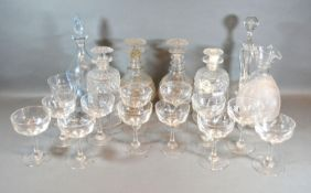 A Pair of 19th Century Cut Glass Decanters together with a collection of other glass ware to include