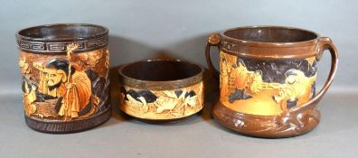 A Bretby Pottery Two Handled Jardiniere in the Japanese Style 20 cms tall together with another
