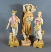 A Royal Dux Figure in the form of a Classical Female carrying a Basket, 37 cms tall together with