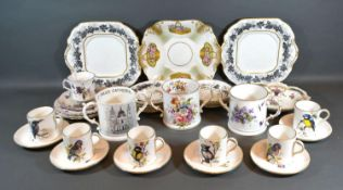 A Hammersley Coffee Set hand painted with Birds and highlighted with gilt together with other