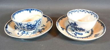 A First Period Worcester Tea Bowl with Saucer decorated in underglaze blue together with another