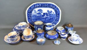 A 19th Century Copeland Spode Tower Pattern Meat Platter together with other related items