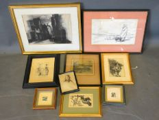 Albert Bailey, The Corner House London, monochrome watercolour, together with a small collection