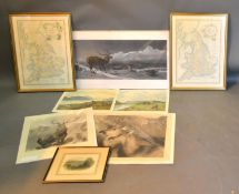 A Pair of Coloured Maps of Great Britain together with various other prints