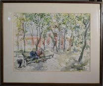 Tabitha Salmon, Shady Square by Trinity Church in Vishnyaki, Moscow, watercolour, signed and dated