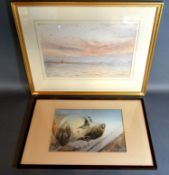 Herbert Finn 'Coastal Scene with Sailing Vessels' Watercolour, signed and dated 1906, 23 x 34 cms