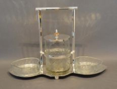 A Silver Plated and Cut Glass Hors d'Oeuvre with a central cut glass reserve flanked by heart shaped