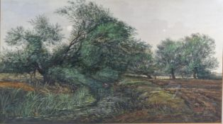 """Edward Stamp, """"By the Ouzel, Great Brickhill, Buckinghamshire"""" watercolour signed and dated 1984"""