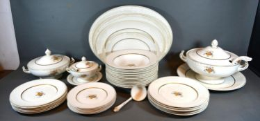 A Carlton Shape Dinner Service comprising plates, two covered tureens and other items
