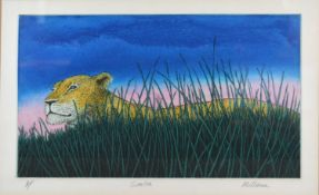 Mark Millmore 'Simba' coloured etching, 23 x 34 cms