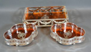 A Silver Plated and Simulated Tortoise Shell Rectangular Tray decorated with bows and swags 22cm