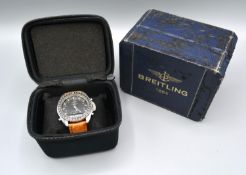 A Breitling Navitimer Pluton 3100 Gentleman's Stainless Steel Wrist Watch with box and soft case
