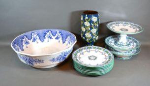 A Victorian Dessert Service together with an underglaze blue decorated bowl and a pedestal vase