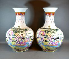 A Pair of Chinese Large Bottleneck Vases decorated in polychrome enamels with figures amongst