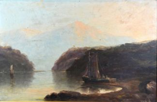 Harry Armstrong Whittle 'Coastal Scene with Figures in a Fishing Barge' oil on board, signed, 29 x