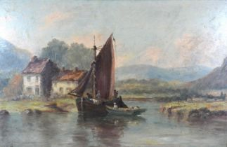 Harry Armstrong Whittle 'River Scene with Fishing Barge' oil on board, signed, 29 x 45 cms