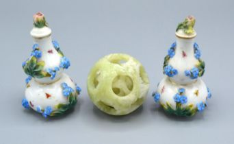 A Pair of Berlin Porcelain Small Gourd Vases with Covers together with a 20th Century Chinese jade