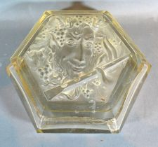 A Large Art Deco Cut Glass Dressing Table Box, the top decorated with a lady's head playing a