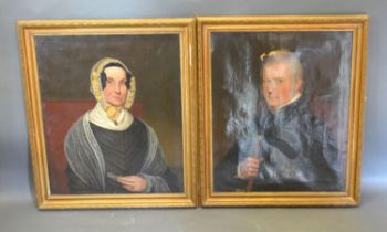 A Pair of 19th Century Oils On Canvas, Portrait of James Allden and Elizabeth Beale within gilded