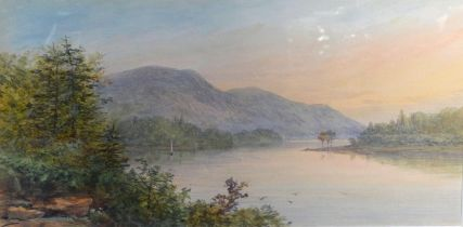 A Pair of Late 19th Early 20th Century Watercolours, River Scenes, signed with initial, 22 x 41 cms