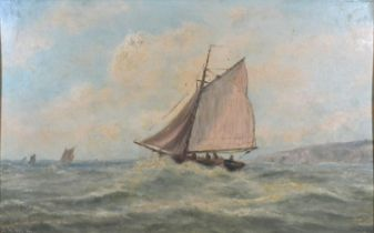 Harry Armstrong Whittle 'Fishing Boats in a Stormy Sea' oil on board, signed, 30 x 45 cms