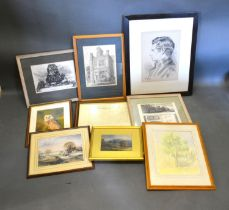 A Victorian Watercolour 'Mountainous Landscape' together with a small collection of other pictures