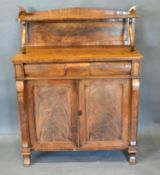 A William IV Mahogany Chiffonier, the shaped galleries back above a concealed drawer and two
