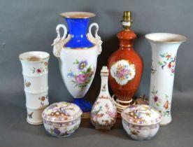 A Dresden Porcelain Oviform Vase together with a collection of other Dresden porcelain