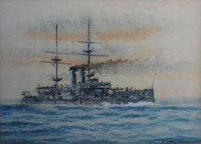 St. John Lennox Scott Horne HMS Cornwallis watercolour, signed, 26 x 36 cms