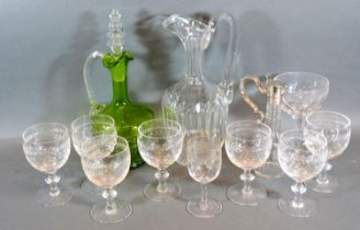 A Cut Glass and Silver Plated Mounted Vinegar Bottle together with two ewers, a set of seven cut